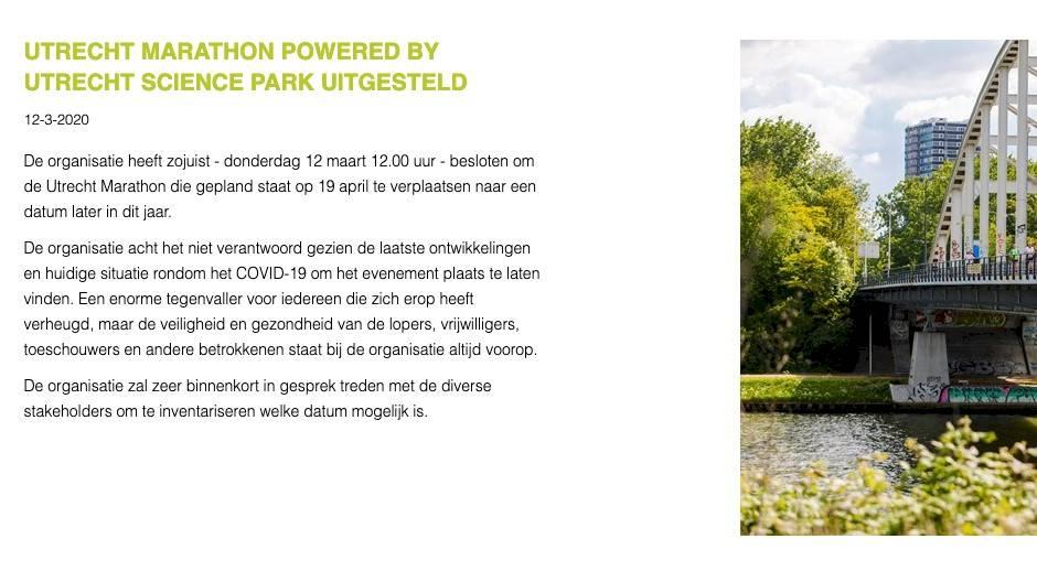 Ook NN Marathon Rotterdam en Utrecht Marathon uitgesteld om corona - update
